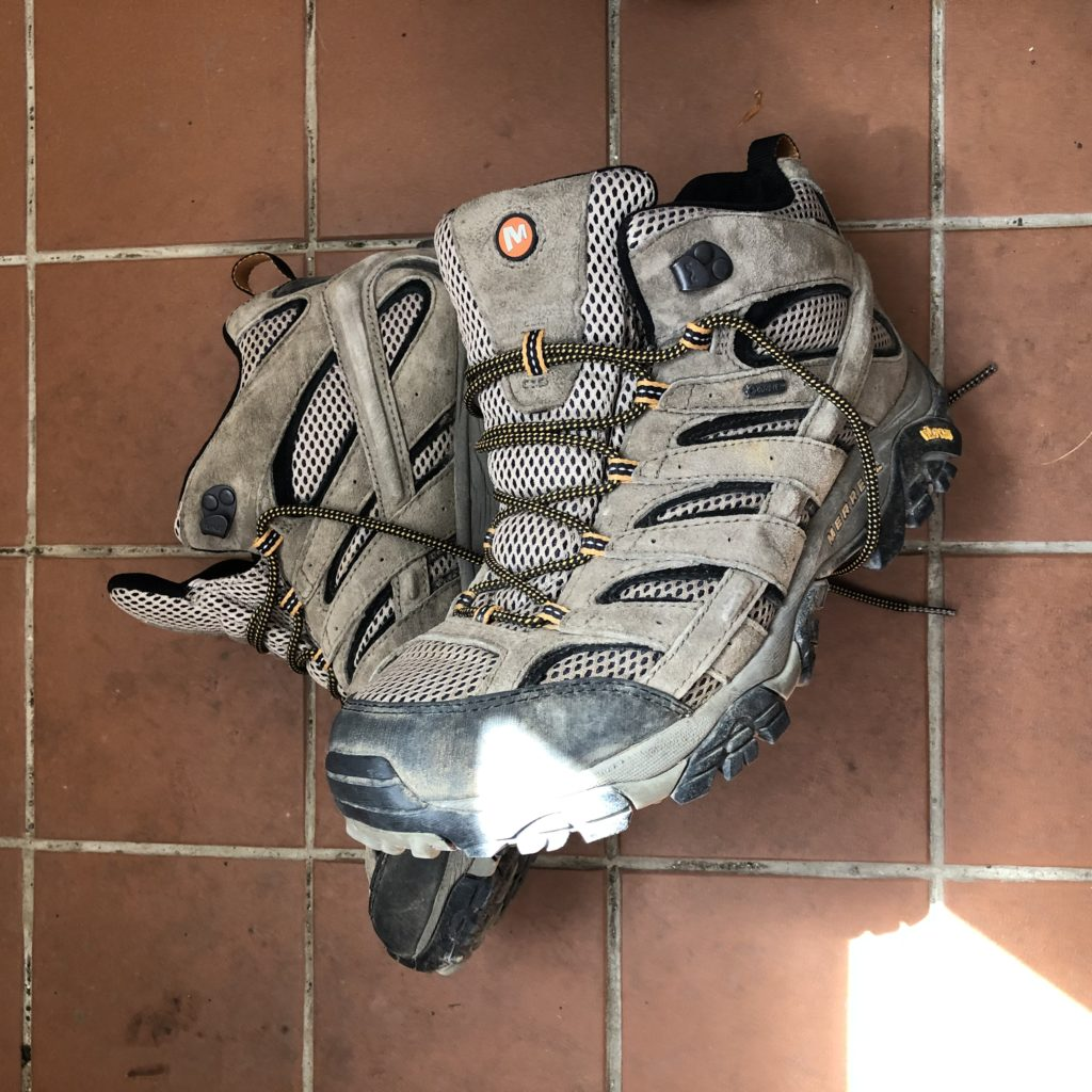 Merrell Moab 2 GTX high rise walking and hiking boots.