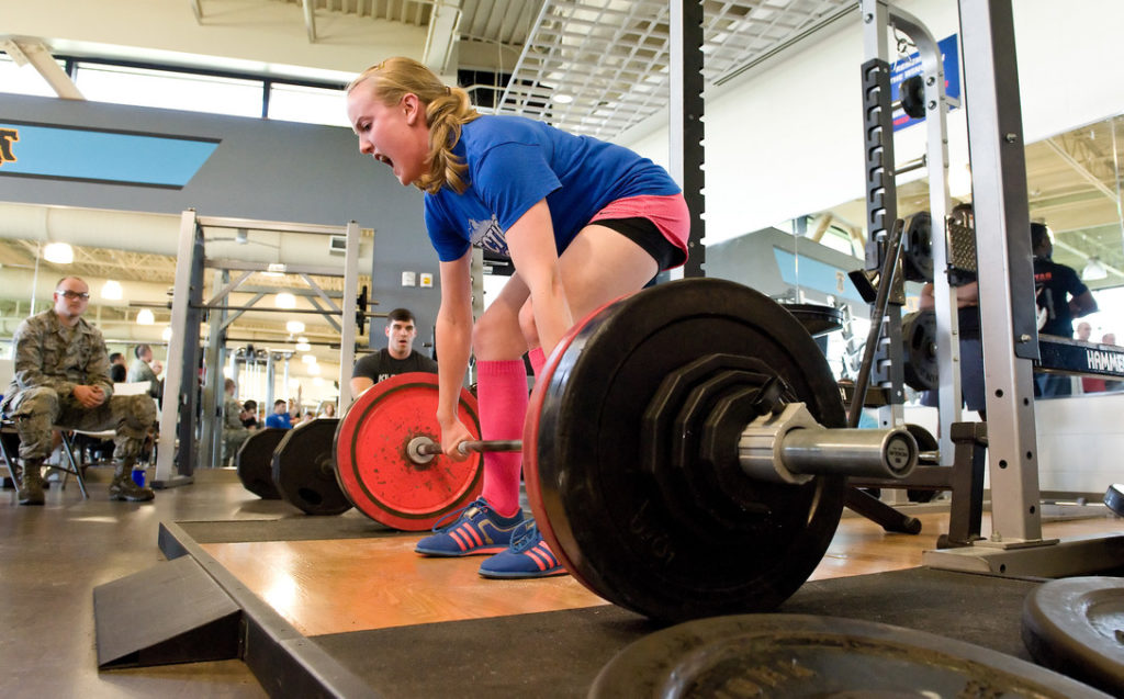 Deadlifts for hiking training in the gym