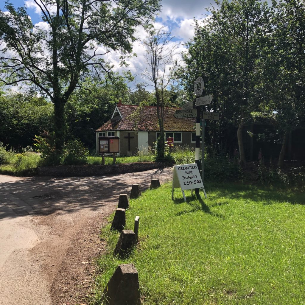 At the junction with Dunsmore church, turn left... or first grab a delicious cream tea