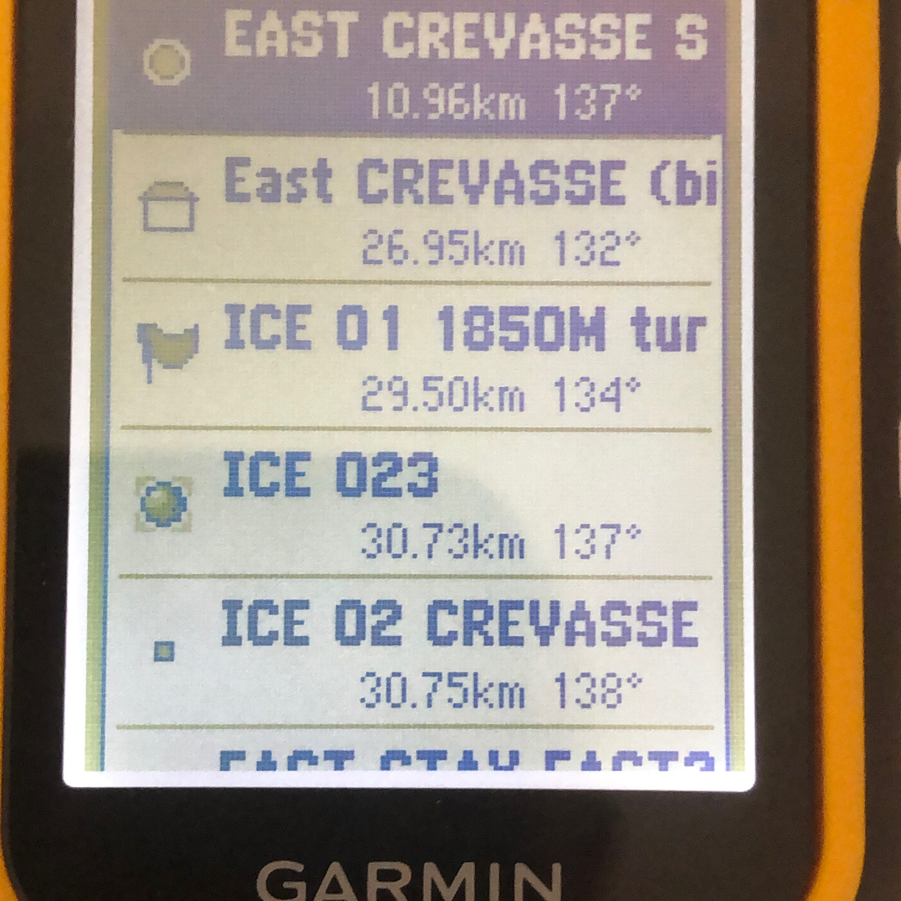 Waypoints entered into my eTrex 10, which I used to navigate across Greenland.