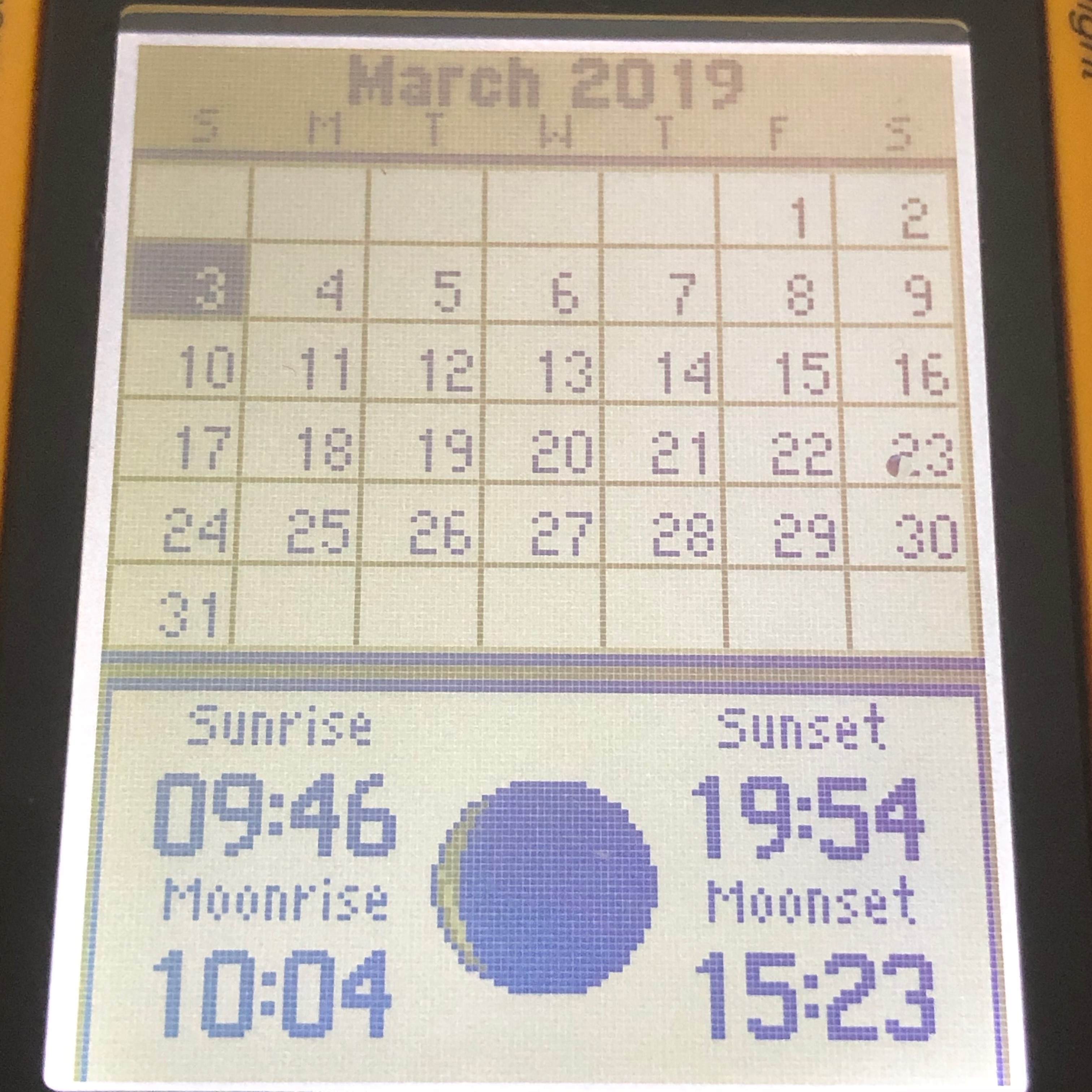 Sunrise and sunset function as seen on the eTrex 10