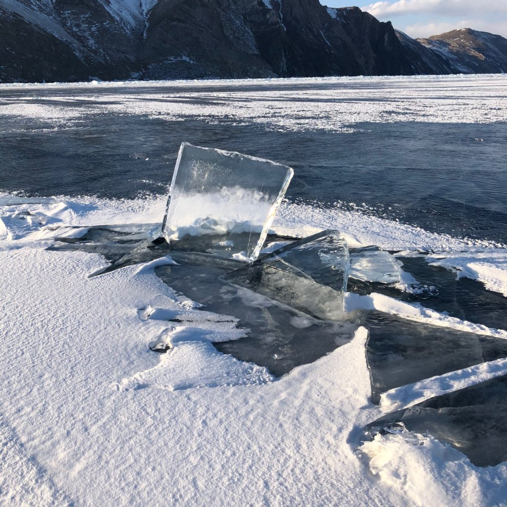 Baikal's ice frequently breaks up and re-freezes to form strange, symmetrical shapes.
