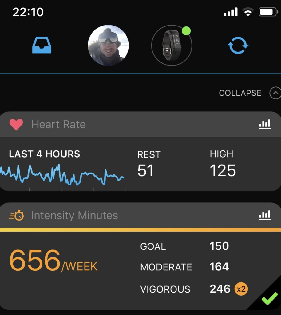 Vivosmart HR+ connected to Garmin Connect.